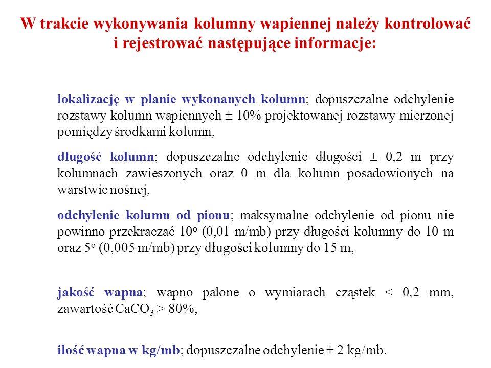 W trakcie wykonywania kolumny wapiennej należy kontrolować i rejestrować następujące informacje: