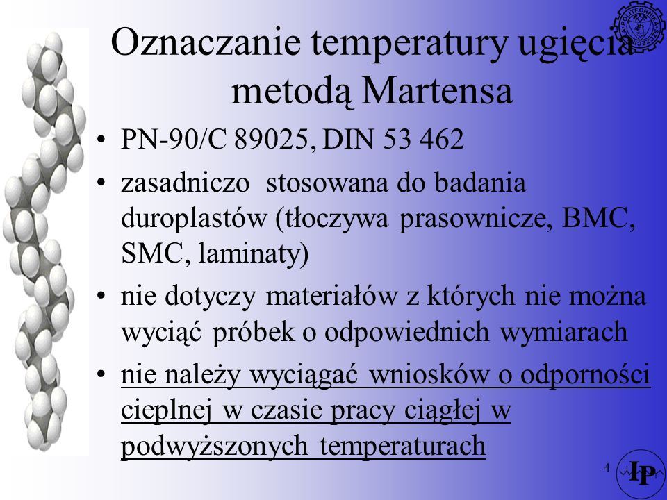 Oznaczanie temperatury ugięcia metodą Martensa