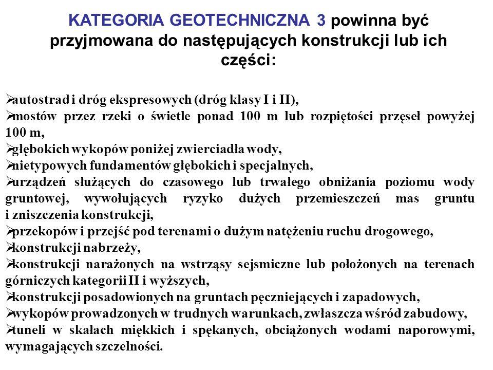 KATEGORIA GEOTECHNICZNA 3 powinna być przyjmowana do następujących konstrukcji lub ich części: