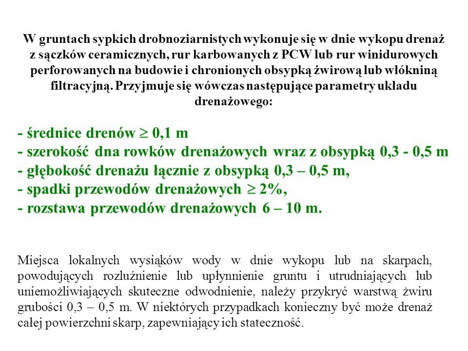 - szerokość dna rowków drenażowych wraz z obsypką 0,3 - 0,5 m