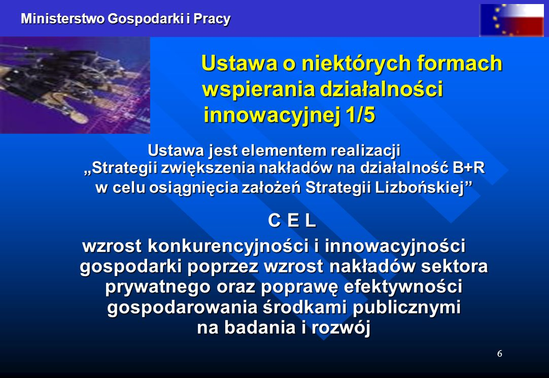 Ustawa o niektórych formach wspierania działalności innowacyjnej 1/5