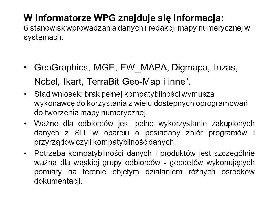 W informatorze WPG znajduje się informacja: 6 stanowisk wprowadzania danych i redakcji mapy numerycznej w systemach: