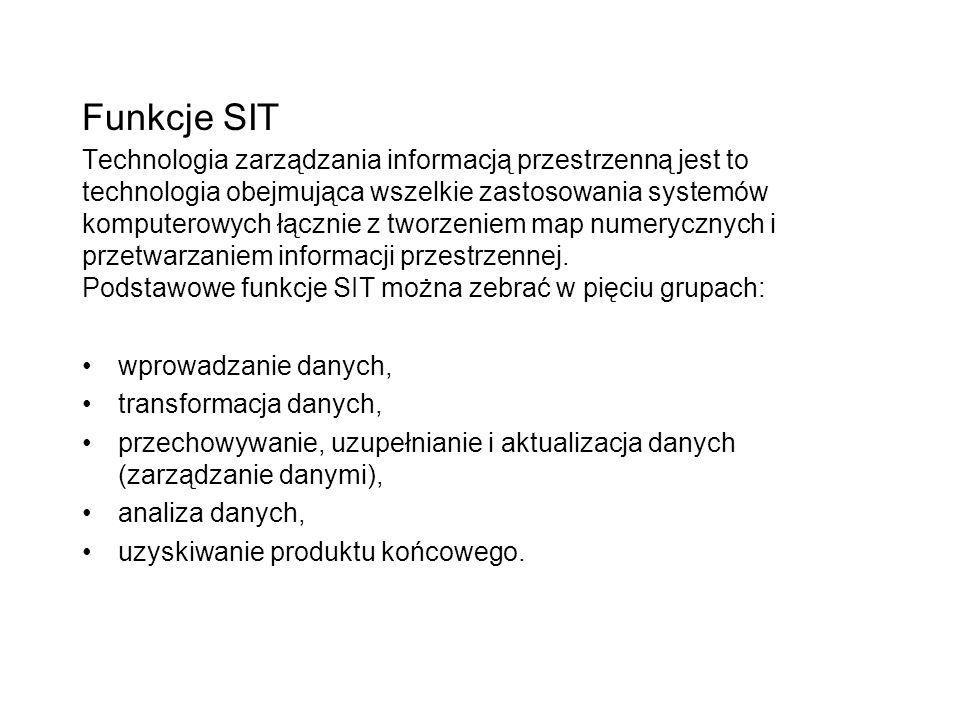 Funkcje SIT Technologia zarządzania informacją przestrzenną jest to technologia obejmująca wszelkie zastosowania systemów komputerowych łącznie z tworzeniem map numerycznych i przetwarzaniem informacji przestrzennej. Podstawowe funkcje SIT można zebrać w pięciu grupach:
