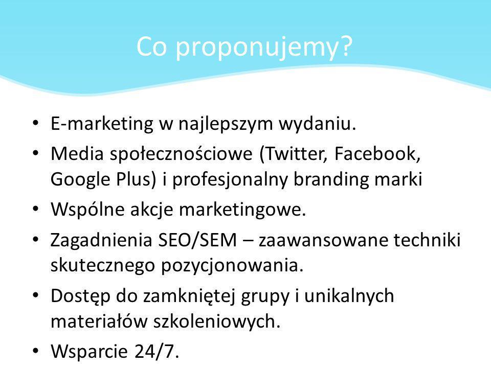 Co proponujemy E-marketing w najlepszym wydaniu.