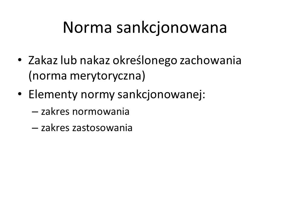 Norma sankcjonowana Zakaz lub nakaz określonego zachowania (norma merytoryczna) Elementy normy sankcjonowanej: