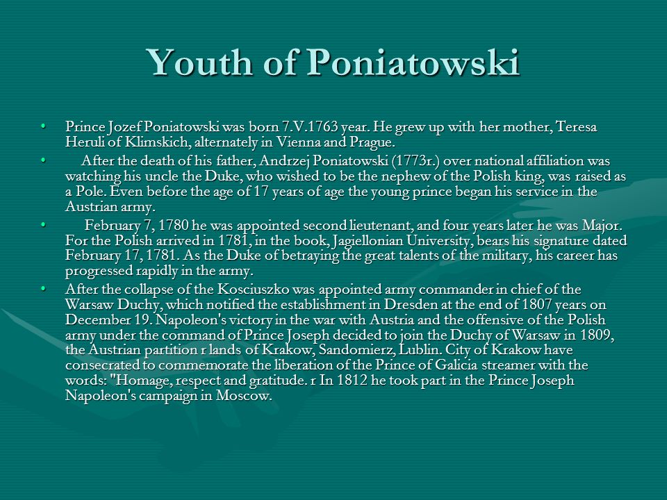 Youth of Poniatowski