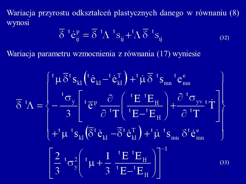 Wariacja parametru wzmocnienia z równania (17) wyniesie