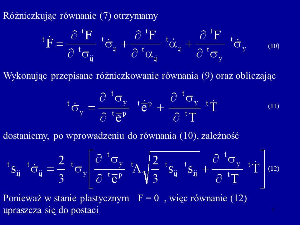 Różniczkując równanie (7) otrzymamy
