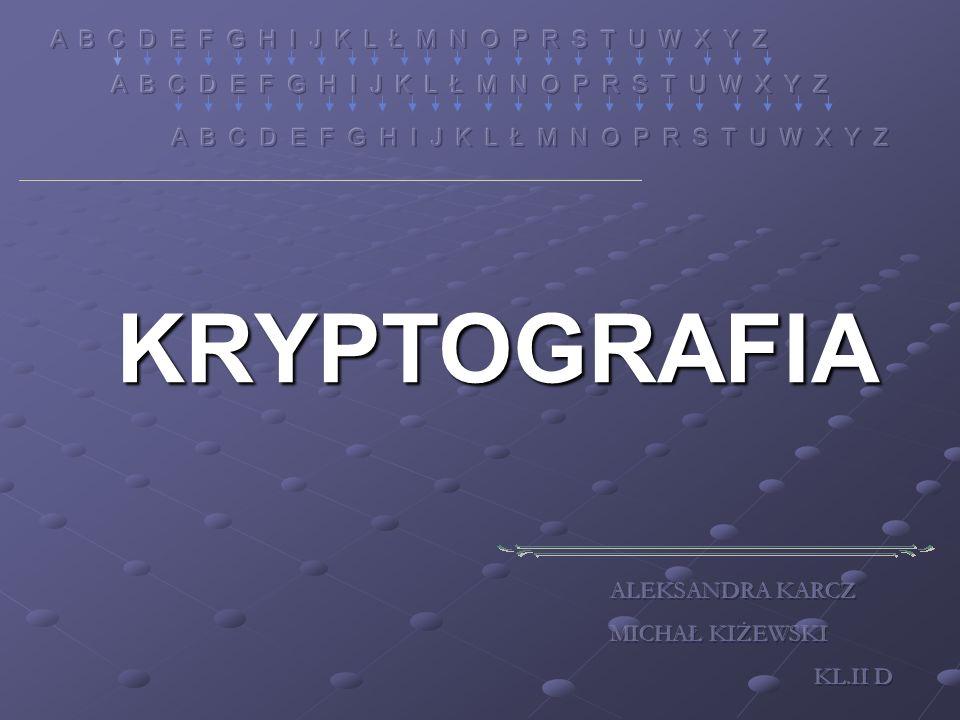 KRYPTOGRAFIA A B C D E F G H I J K L Ł M N O P R S T U W X Y Z