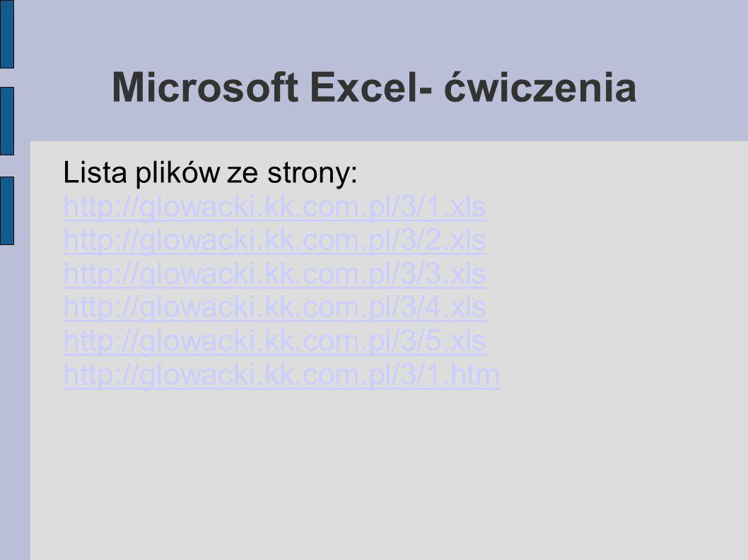 Microsoft Excel- ćwiczenia