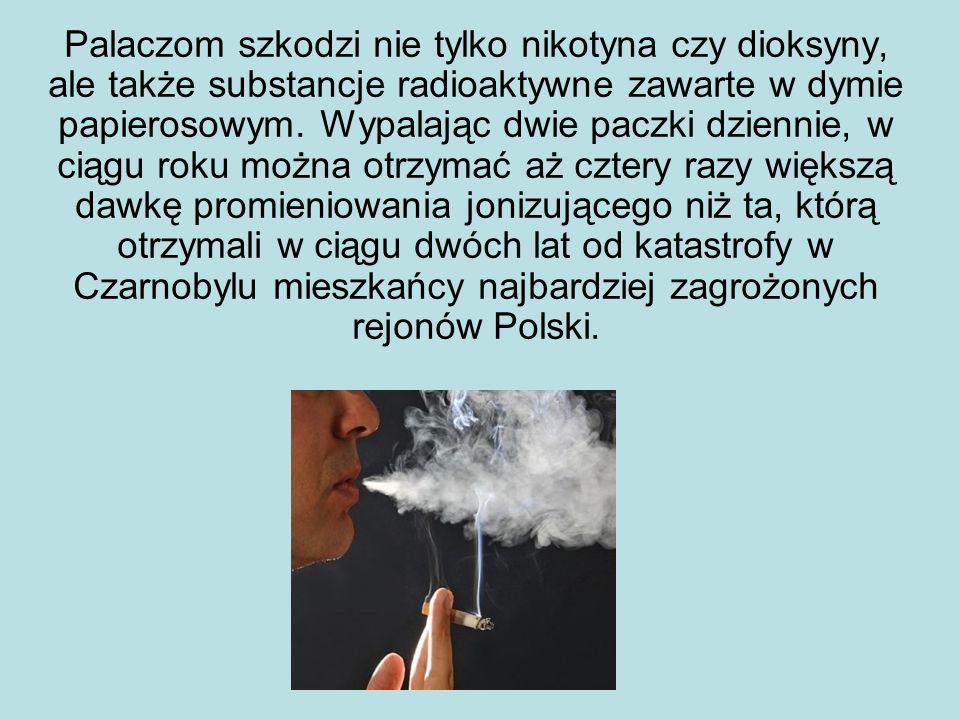 Palaczom szkodzi nie tylko nikotyna czy dioksyny, ale także substancje radioaktywne zawarte w dymie papierosowym.