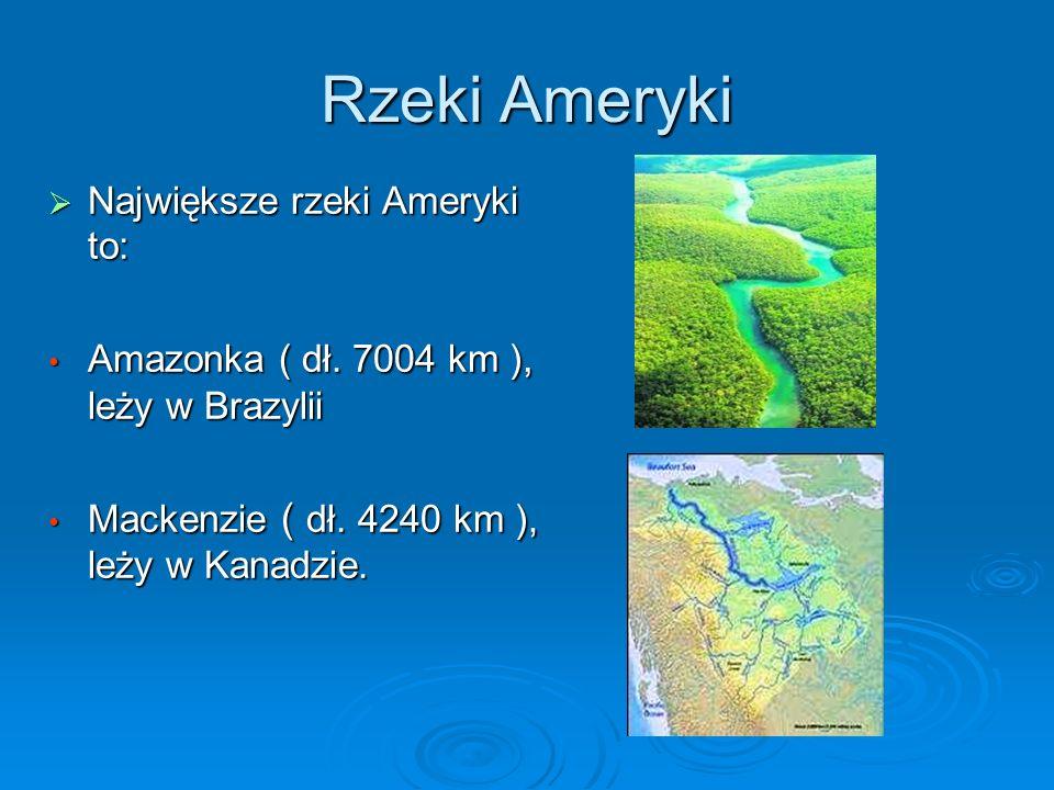 Rzeki Ameryki Największe rzeki Ameryki to: