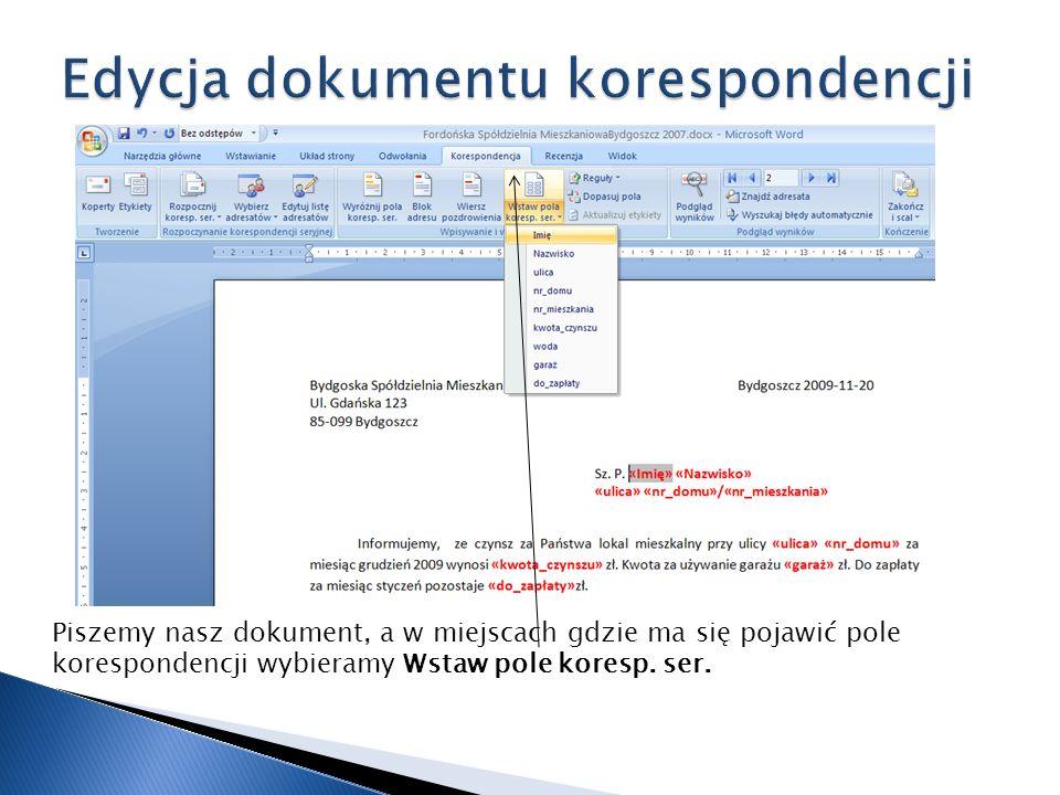 Edycja dokumentu korespondencji