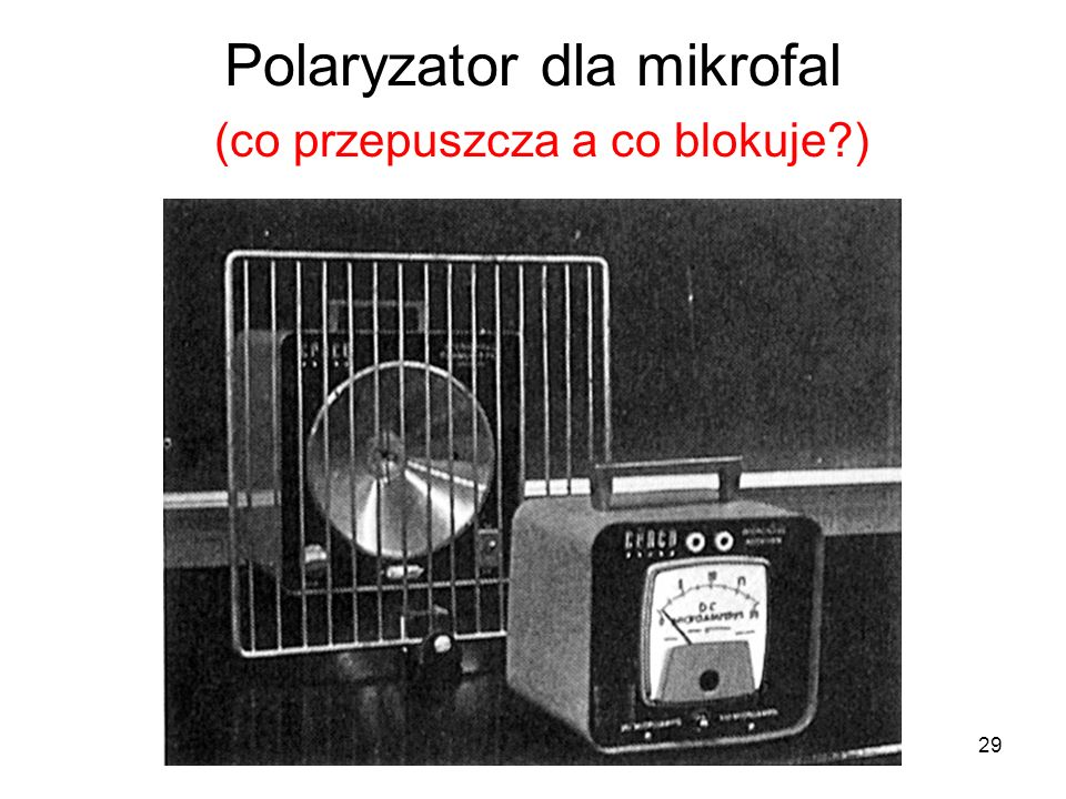 Polaryzator dla mikrofal (co przepuszcza a co blokuje )