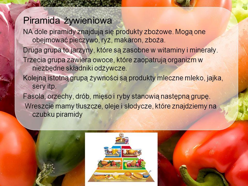 Piramida żywieniowa NA dole piramidy znajdują się produkty zbożowe. Mogą one obejmować pieczywo, ryż, makaron, zboża.