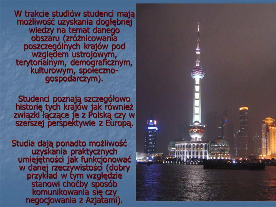 W trakcie studiów studenci mają możliwość uzyskania dogłębnej wiedzy na temat danego obszaru (zróżnicowania poszczególnych krajów pod względem ustrojowym, terytorialnym, demograficznym, kulturowym, społeczno-gospodarczym).