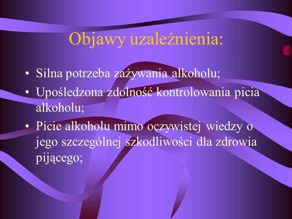 Objawy uzależnienia: Silna potrzeba zażywania alkoholu;