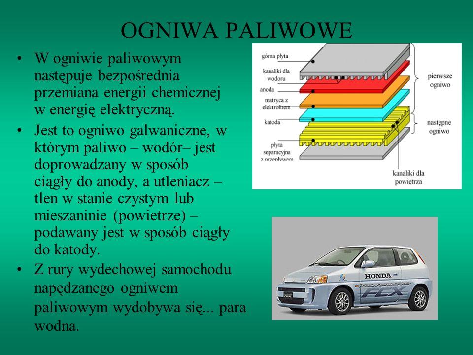 OGNIWA PALIWOWE W ogniwie paliwowym następuje bezpośrednia przemiana energii chemicznej w energię elektryczną.