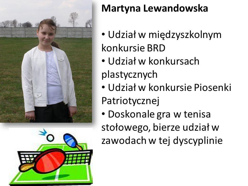 Martyna Lewandowska Udział w międzyszkolnym konkursie BRD. Udział w konkursach plastycznych. Udział w konkursie Piosenki Patriotycznej.