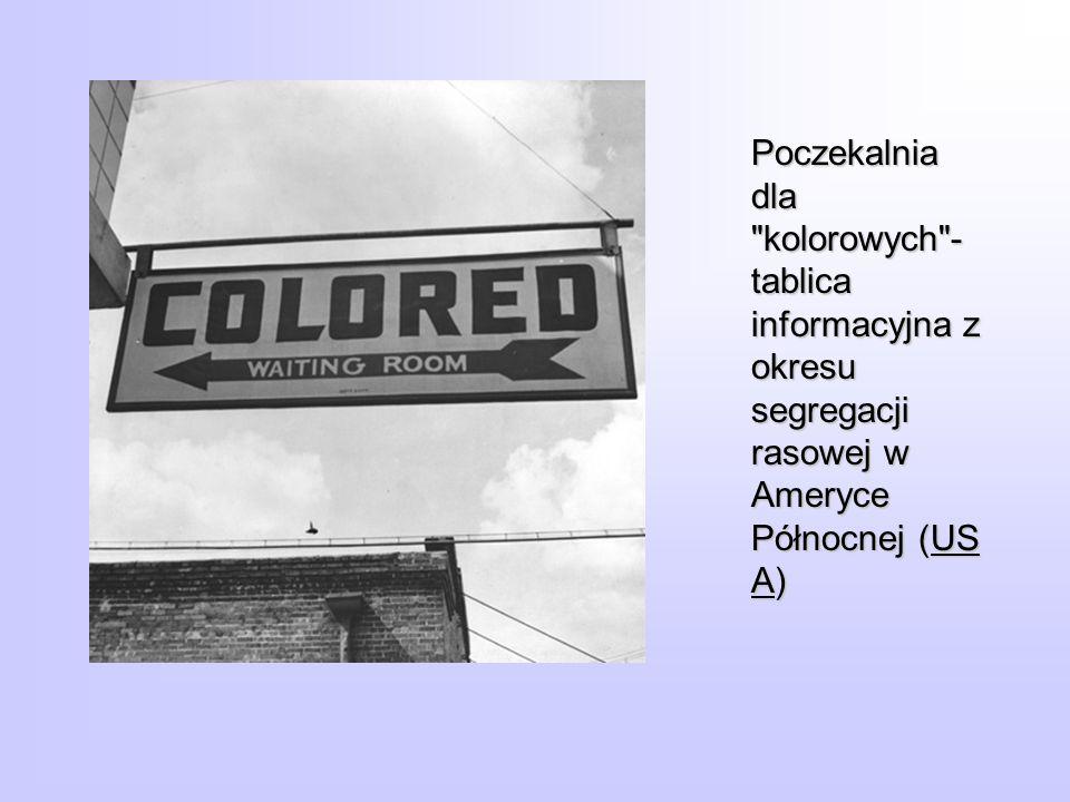 Poczekalnia dla kolorowych - tablica informacyjna z okresu segregacji rasowej w Ameryce Północnej (USA)