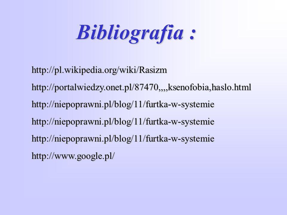 Bibliografia : http://pl.wikipedia.org/wiki/Rasizm