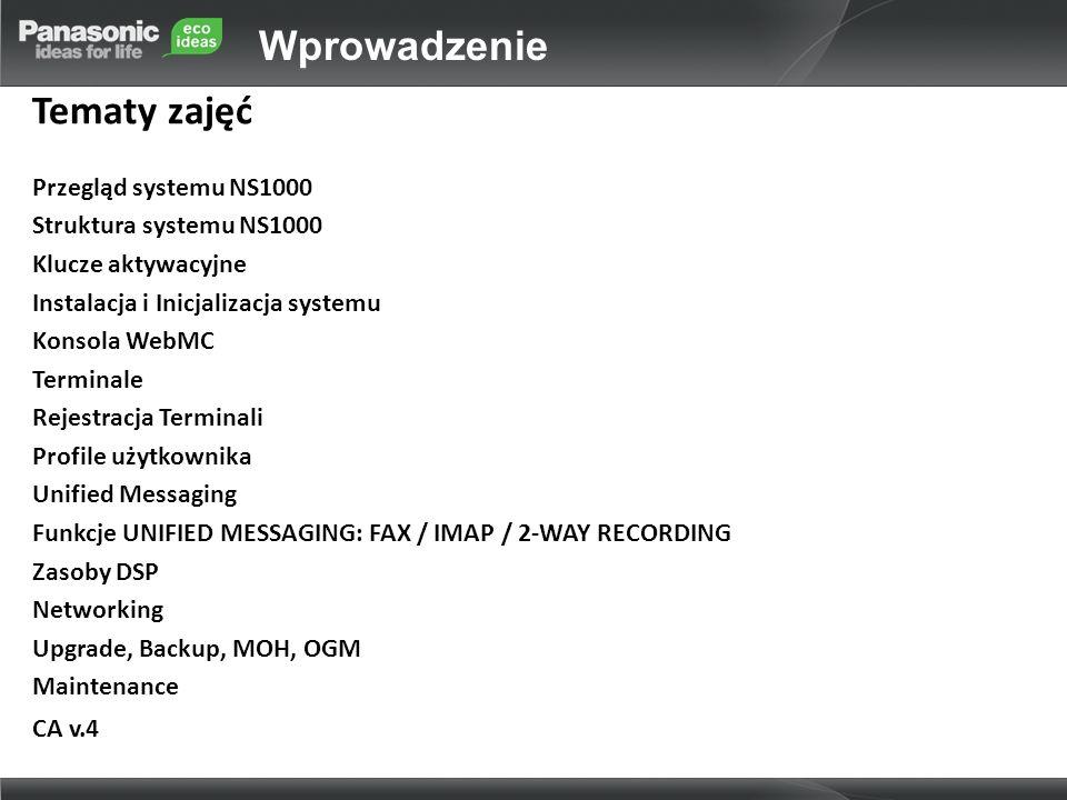 Wprowadzenie Tematy zajęć Przegląd systemu NS1000