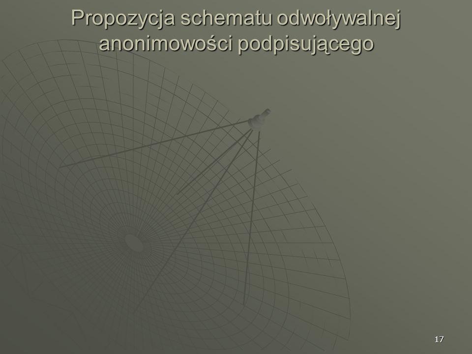 Propozycja schematu odwoływalnej anonimowości podpisującego