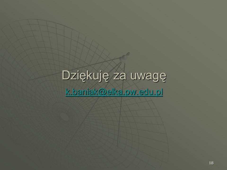 Dziękuję za uwagę k.baniak@elka.pw.edu.pl