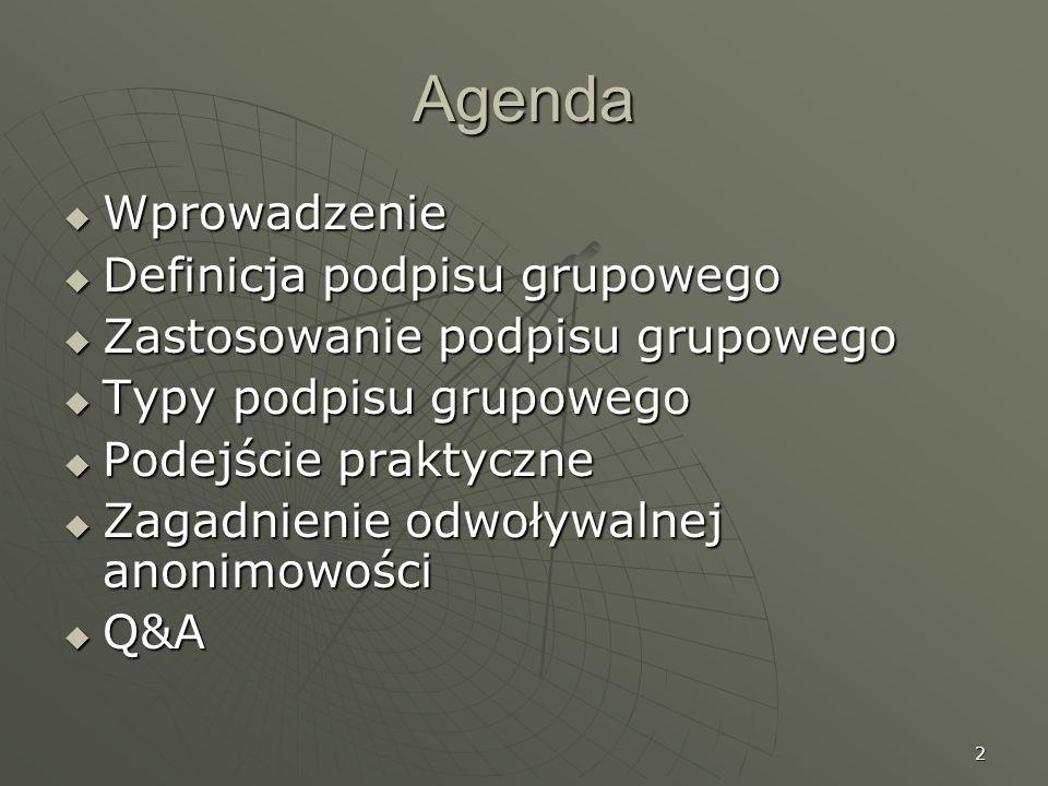 Agenda Wprowadzenie Definicja podpisu grupowego