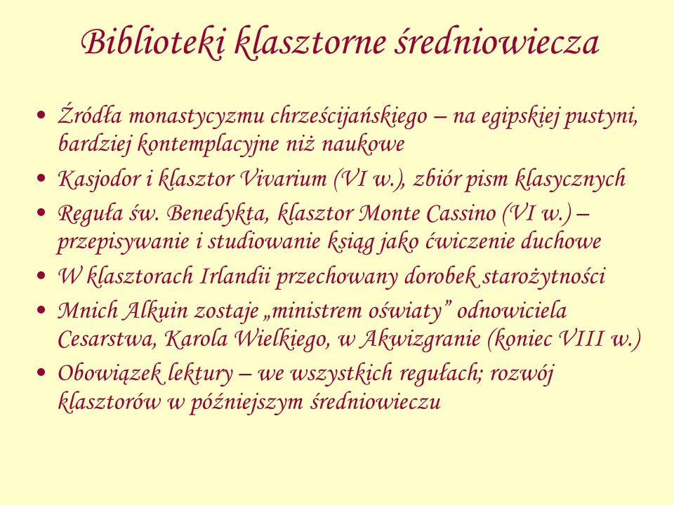 Biblioteki klasztorne średniowiecza