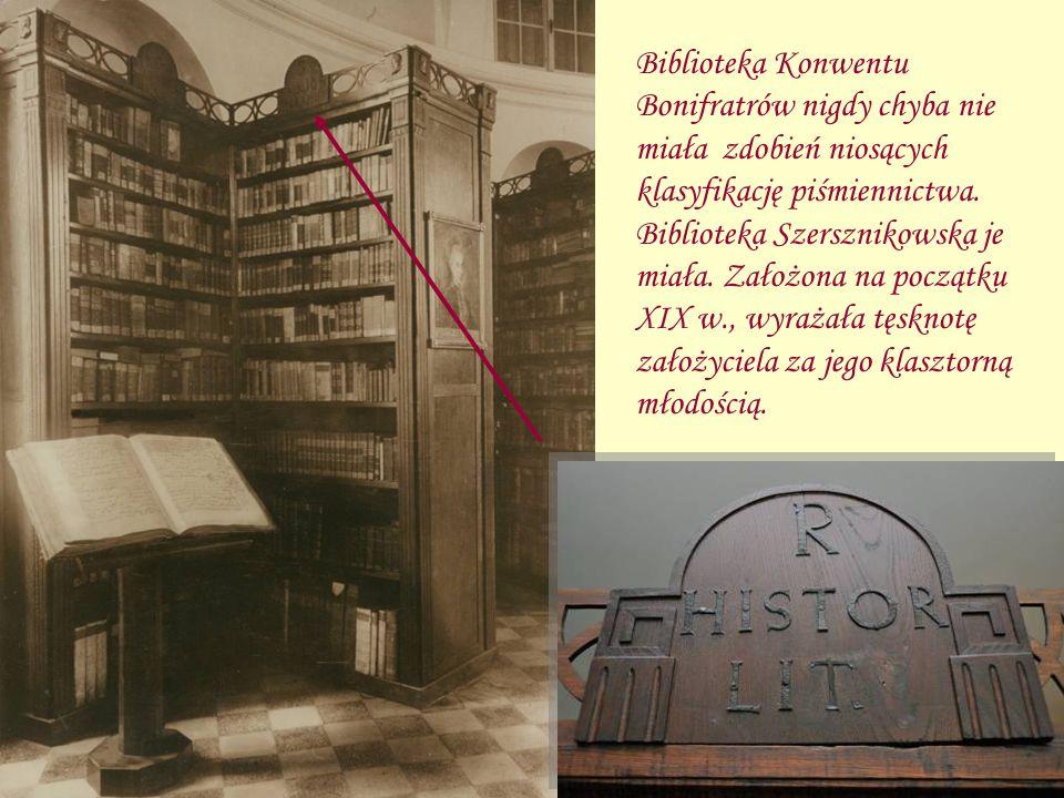 Biblioteka Konwentu Bonifratrów nigdy chyba nie miała zdobień niosących klasyfikację piśmiennictwa.