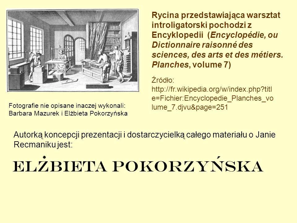 Rycina przedstawiająca warsztat introligatorski pochodzi z Encyklopedii (Encyclopédie, ou Dictionnaire raisonné des sciences, des arts et des métiers. Planches, volume 7)