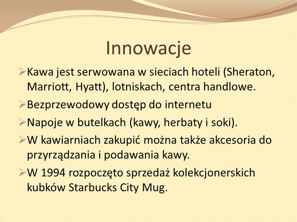 InnowacjeKawa jest serwowana w sieciach hoteli (Sheraton, Marriott, Hyatt), lotniskach, centra handlowe.