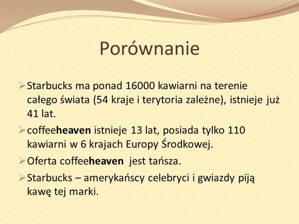 Porównanie Starbucks ma ponad 16000 kawiarni na terenie całego świata (54 kraje i terytoria zależne), istnieje już 41 lat.