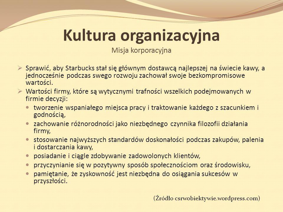 Kultura organizacyjna Misja korporacyjna