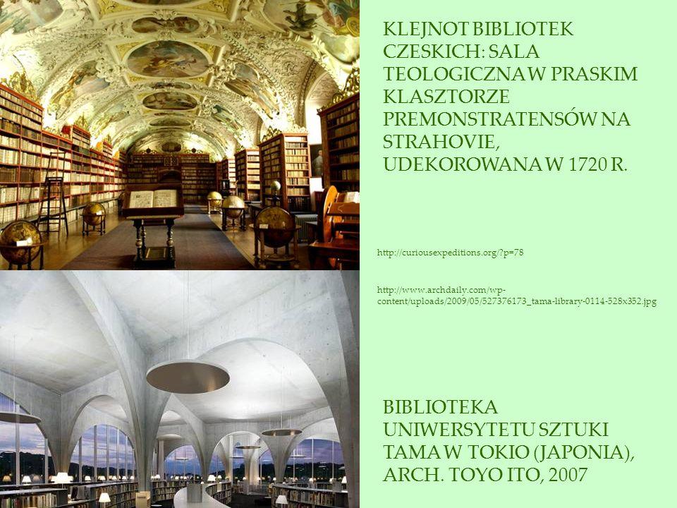 KLEJNOT BIBLIOTEK CZESKICH: SALA TEOLOGICZNA W PRASKIM KLASZTORZE PREMONSTRATENSÓW NA STRAHOVIE, UDEKOROWANA W 1720 R.