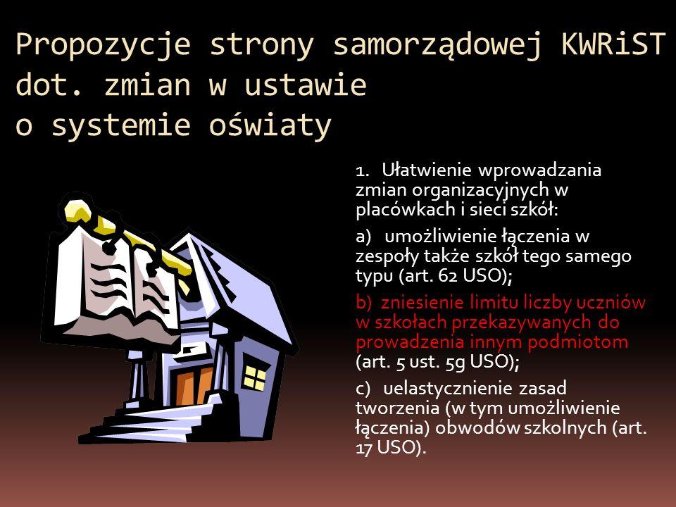 Propozycje strony samorządowej KWRiST dot