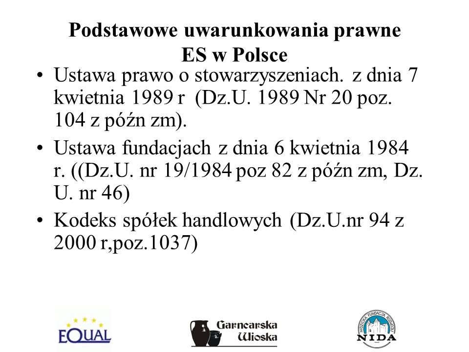 Podstawowe uwarunkowania prawne ES w Polsce