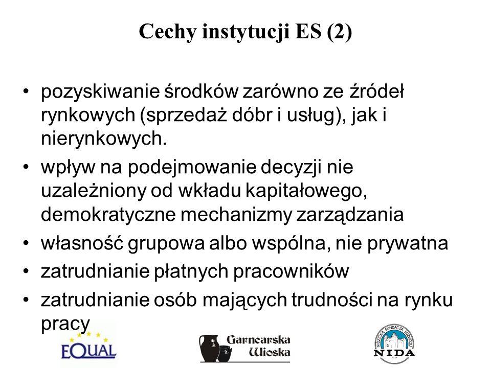 Cechy instytucji ES (2)pozyskiwanie środków zarówno ze źródeł rynkowych (sprzedaż dóbr i usług), jak i nierynkowych.