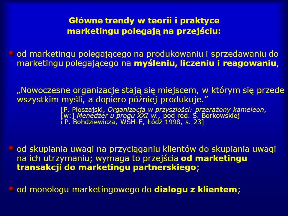 Główne trendy w teorii i praktyce marketingu polegają na przejściu: