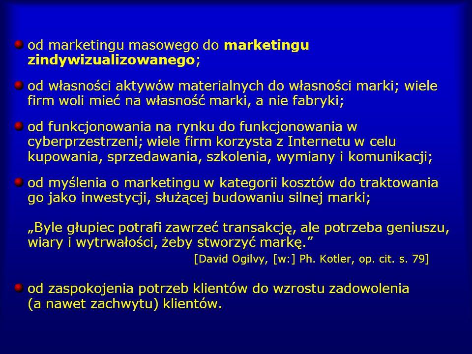 od marketingu masowego do marketingu zindywizualizowanego;