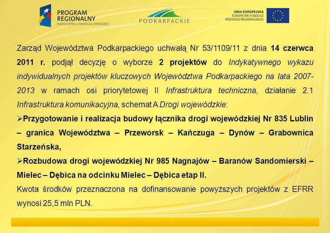 Zarząd Województwa Podkarpackiego uchwałą Nr 53/1109/11 z dnia 14 czerwca 2011 r. podjął decyzję o wyborze 2 projektów do Indykatywnego wykazu indywidualnych projektów kluczowych Województwa Podkarpackiego na lata 2007-2013 w ramach osi priorytetowej II Infrastruktura techniczna, działanie 2.1 Infrastruktura komunikacyjna, schemat A Drogi wojewódzkie: