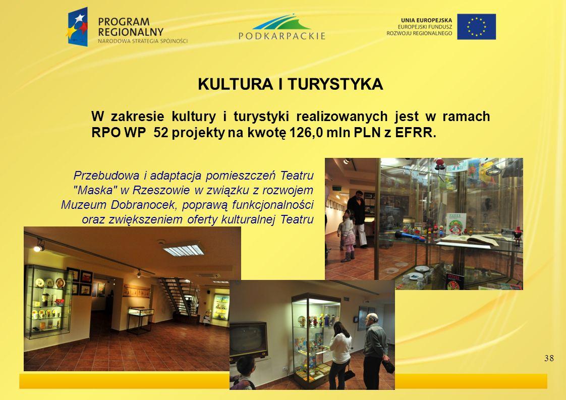 KULTURA I TURYSTYKA W zakresie kultury i turystyki realizowanych jest w ramach RPO WP 52 projekty na kwotę 126,0 mln PLN z EFRR.