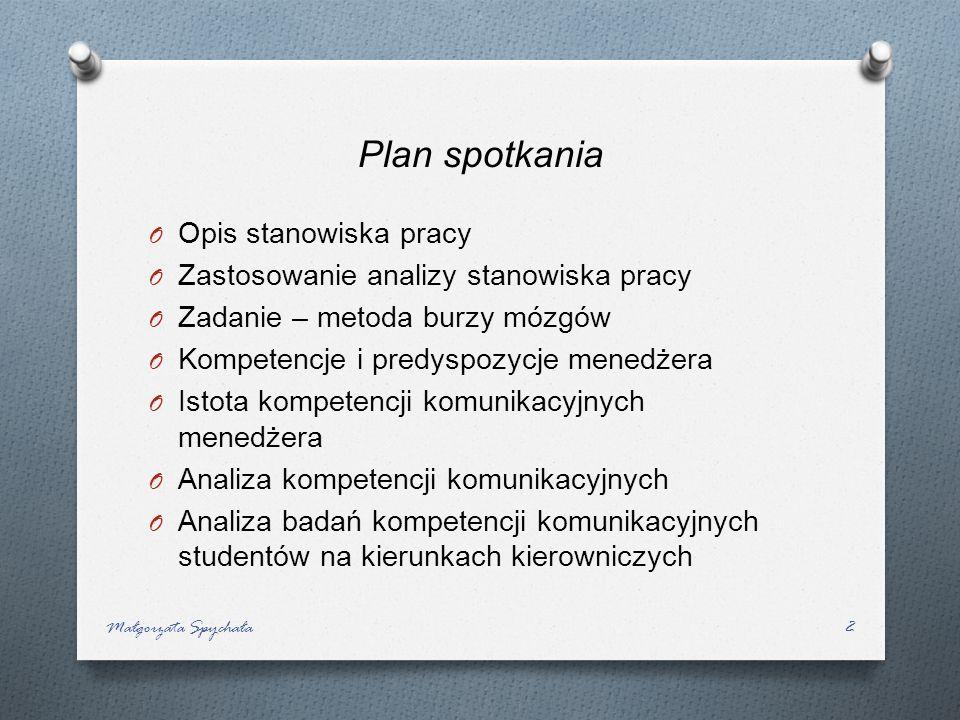 Plan spotkania Opis stanowiska pracy