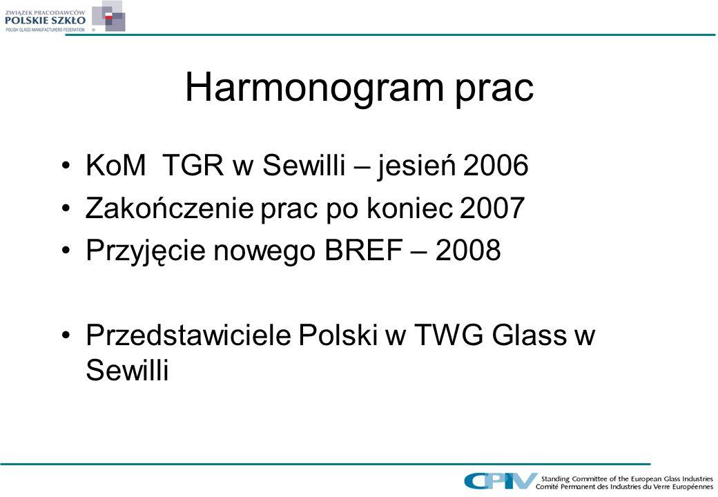 Harmonogram prac KoM TGR w Sewilli – jesień 2006