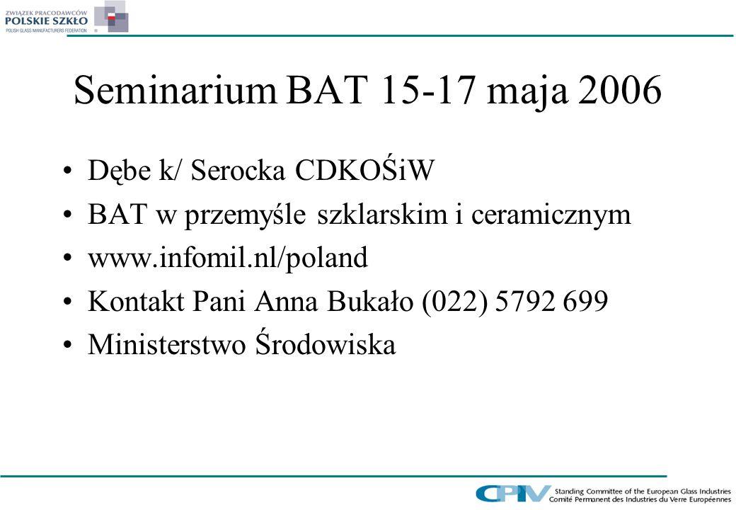 Seminarium BAT 15-17 maja 2006 Dębe k/ Serocka CDKOŚiW