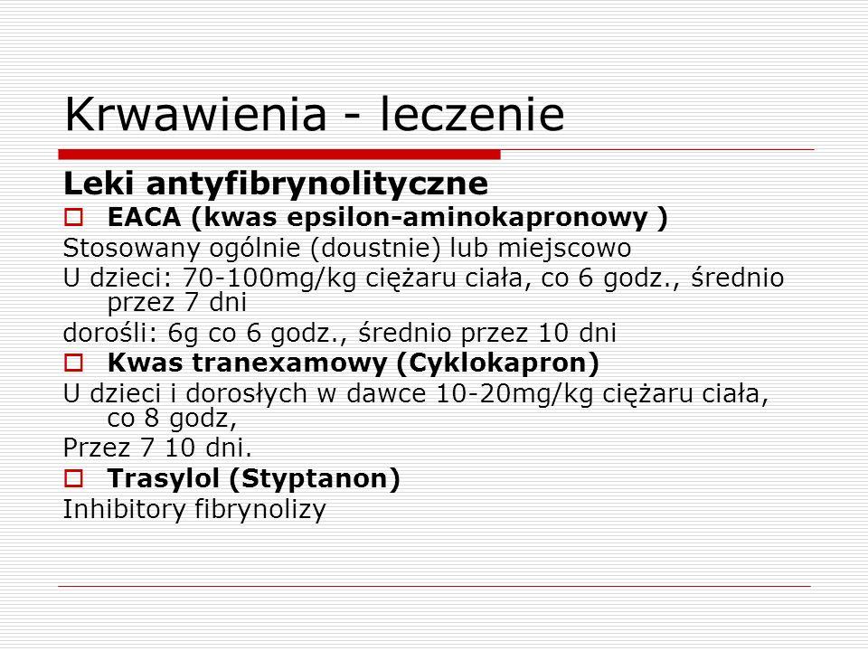 Krwawienia - leczenie Leki antyfibrynolityczne