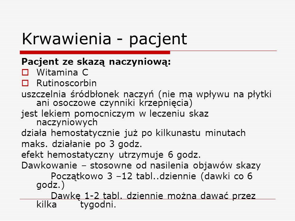 Krwawienia - pacjent Pacjent ze skazą naczyniową: Witamina C