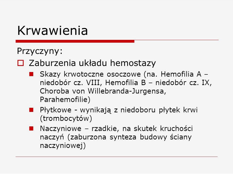 Krwawienia Przyczyny: Zaburzenia układu hemostazy