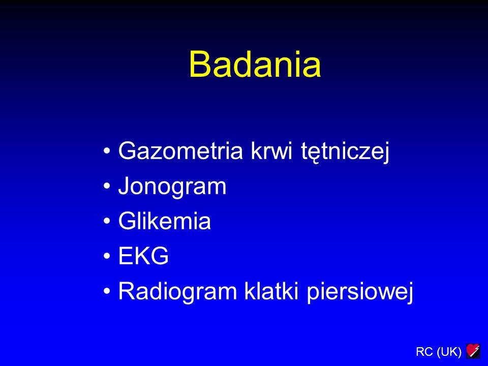 Badania Gazometria krwi tętniczej Jonogram Glikemia EKG